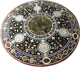 Gifts And Artefacts Table de salle à manger en marbre noir de forme ronde de table de bureau avec superbe incrustation d'art