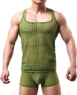 TOBEEY Mens Mesh Wrestling Singlet Bodysuit Jumpsuit Undershirt Slim Transparent Underwear