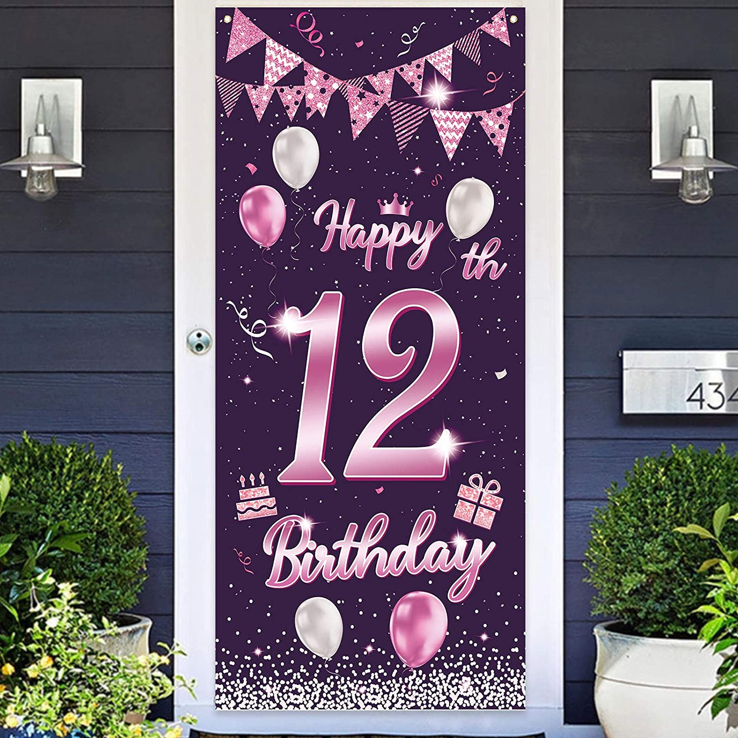 wongmode Happy 12th Birthday Door Banner Backdrop Purple Sign Theme Party Door Cover Decor for 12 Years Old Birthday to You Bunting Garland Decorations Supplies