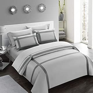 Casabolaj Equilibrio Duvet Covers Set King Size 3 Pieces Casual Modern Minimalist Siver And Grey Color 100% Egyptian Cotton Sateen Luxury 400 Thread Count Cross Patchwork Manufacturing