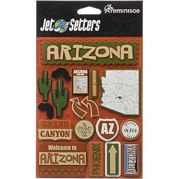 Arizona Reminisce Jet Setters Self Adhesive Epoxy Embellishments