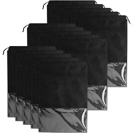 Whaline 15 PCS Sacs à Chaussures de Voyage, Grand Sac de Rangement pour Chaussures, Drawstring Portable Anti-poussière avec Fenêtre Transparente (Noir)