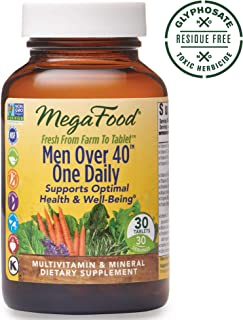 MegaFood, Men Over 40 One Daily, Daily Multivitamin and Mineral Dietary Supplement with Vitamins B, D and Zinc, Non-GMO, Vegetarian, 90 Tablets (90 Servings) (FFP)