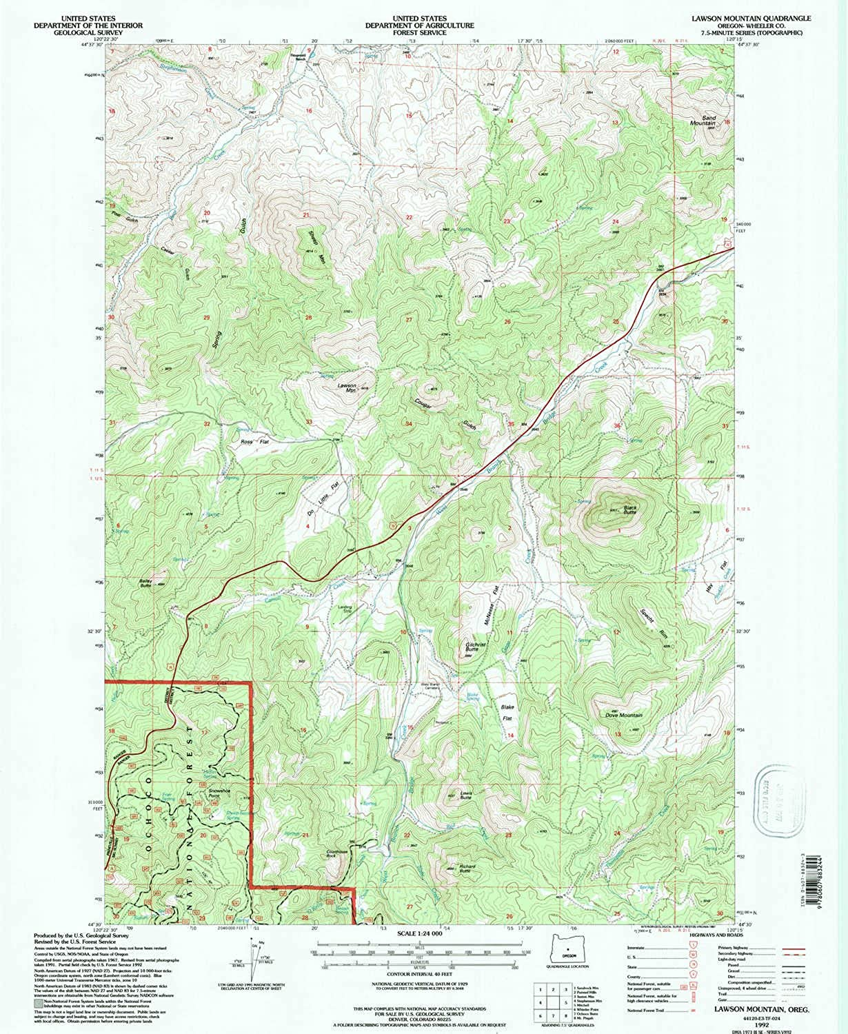 Lawson Mountain OR topo map, 1 24000 Scale, 7.5 X 7.5 Minute, Historical, 1992, Updated 1997, 26.7 x 21.9 in
