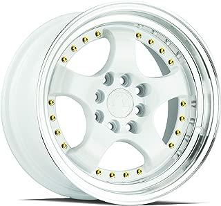 AodHan AH03 Wheel - White Machined Lip (Gold Rivets): 17x9 Wheel Size; 4x100/114.3 Lug Pattern; 73.1mm Hug Bore; 25mm Off Set.