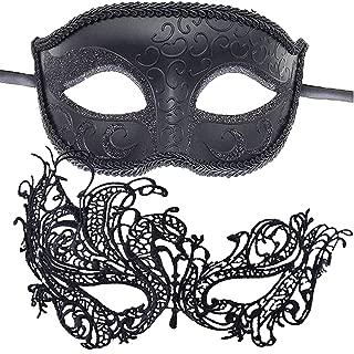 7Queen Rhinestone Rose Women Men Mask for Couples Mardi Gras