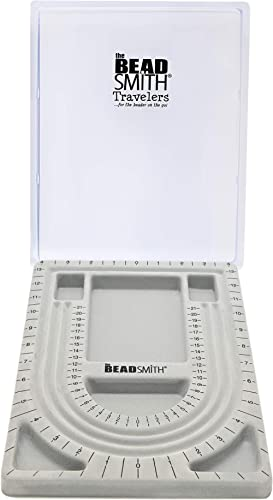 The Beadsmith Bead Board with Cover, Grey Flocked, 3 U-Shaped Channels, 6 Recessed Compartments, 9.75 x 13.25 inches,...
