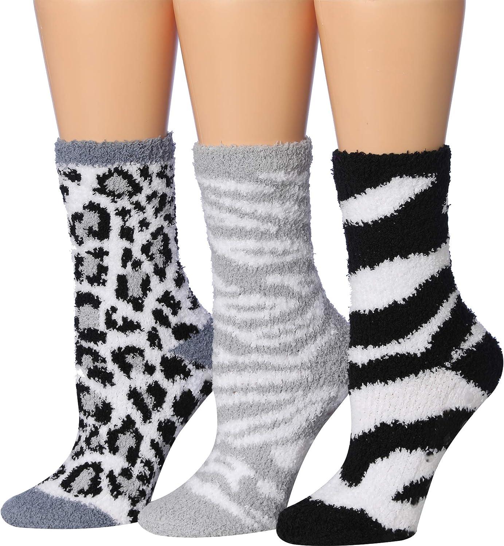 Tipi Toe Womens 6-Pairs Cozy Microfiber Anti-Skid Soft Fuzzy Crew Socks