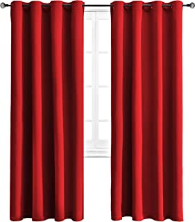 WONTEX Blackout Curtains Room Darkening Thermal Insulated with Grommet Window Curtain for Living Room, 52 x 84 inch, Red, 2 Panels
