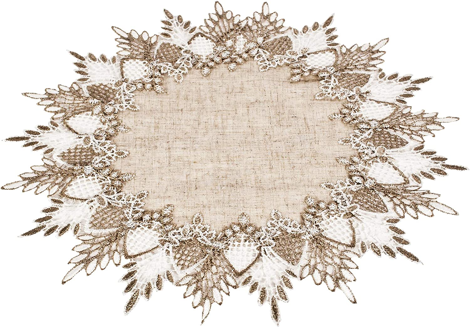Lace Doily 15 inches Neutral Earth Table Tones Plac Max Max 89% OFF 86% OFF Topper Scarf