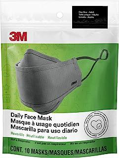 Máscara facial diaria 3M, reutilizable, lavable, ajustable, tela de algodón ligero, paquete de 10