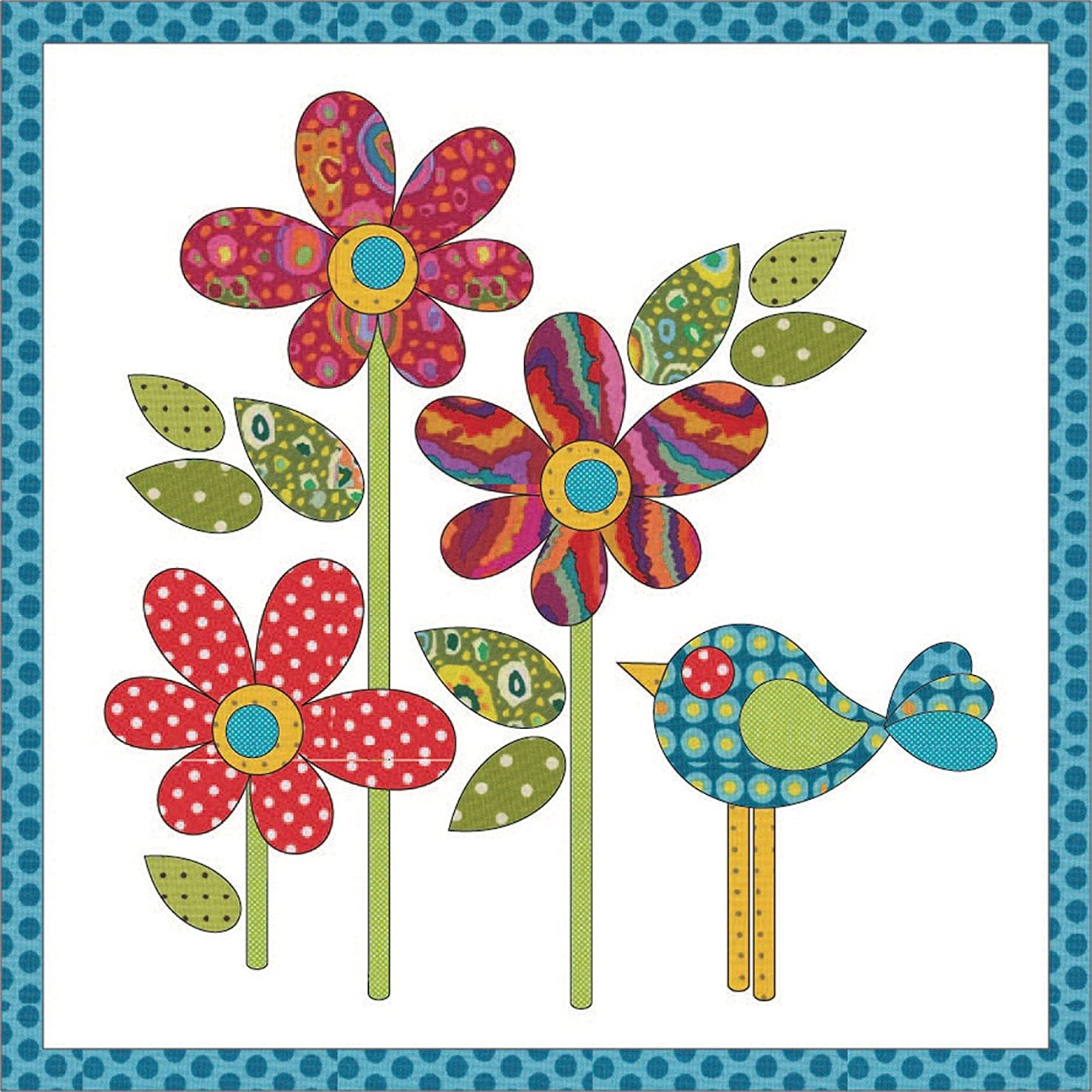 Quilting Creations Laser Cut Fusible Polka Dot Daisy Small Applique, Red