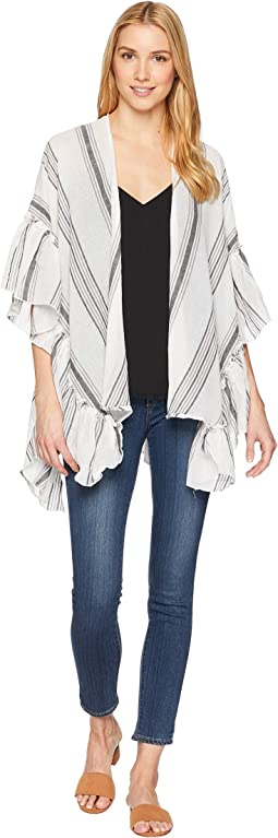 Collection XIIX Striped Side Ruffle Cover-Up