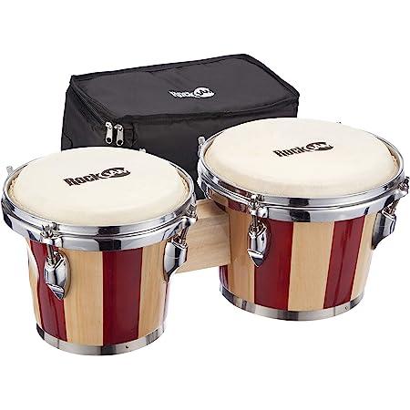 RockJam 7 pulgadas y 8 pulgadas bongo conjunto con la bolsa acolchada y llave de ajuste de rayas rojas y naturales