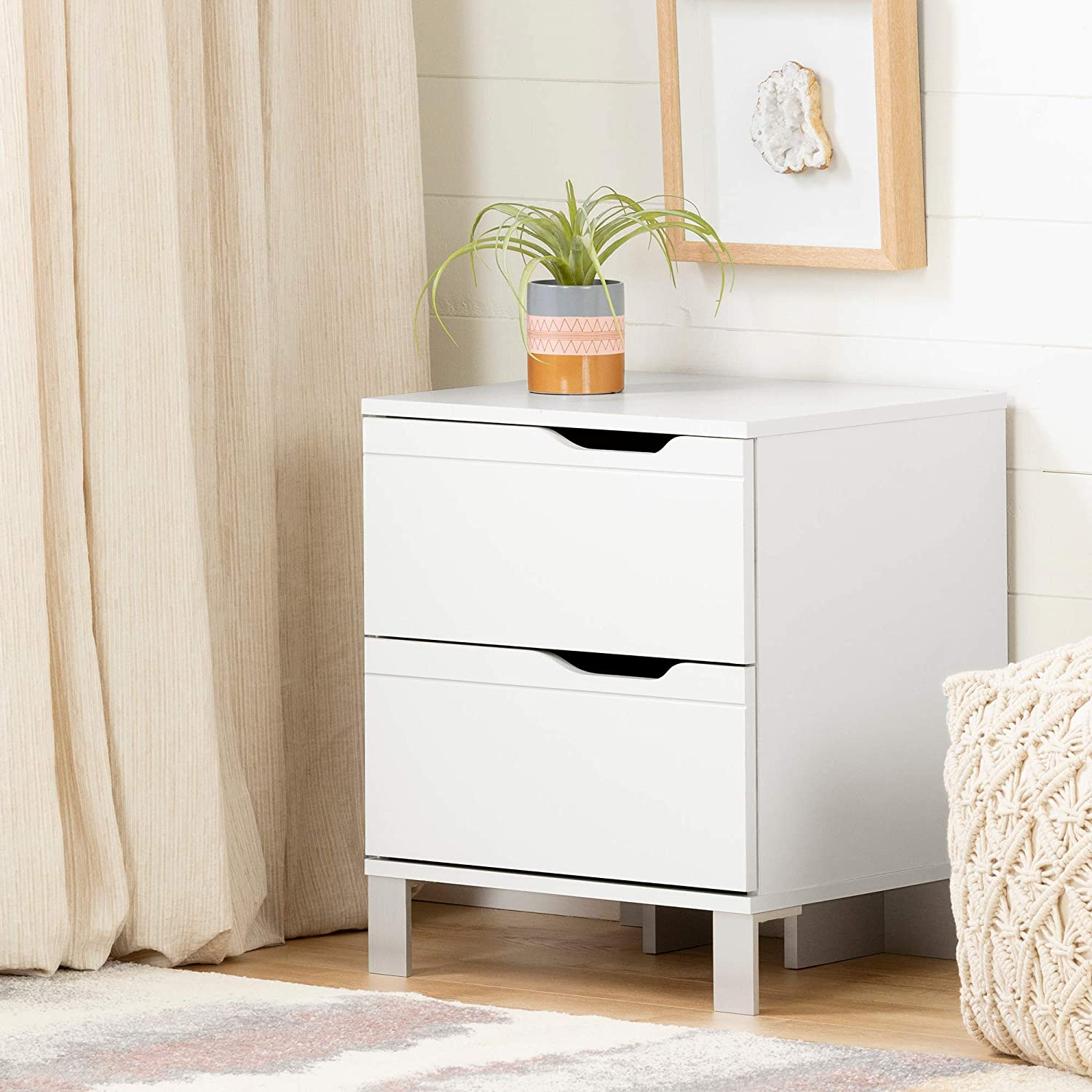 South Shore Kanagane Nightstand-Pure Ranking TOP6 White 2-Drawer Limited price sale