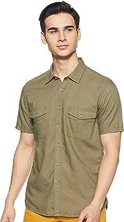 CHEROKEE Men's Solid Regular fit Casual Shirt (400020220684_Olive S)