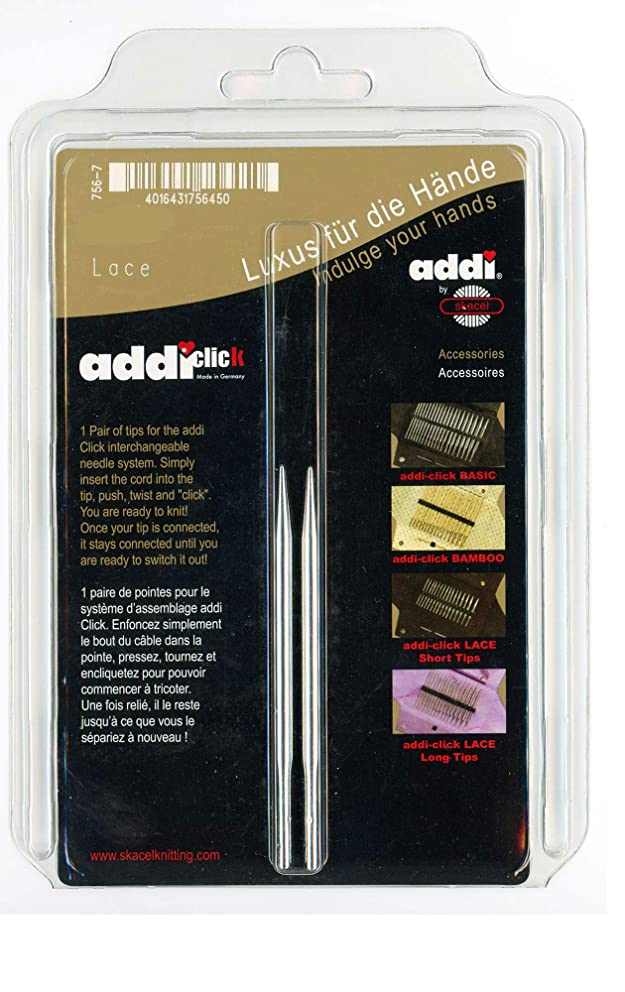 addi Click Interchangeable Knitting Needle Tips Short Rocket Lace Set 3.25 inch (8cm) US 06 (4.0mm)