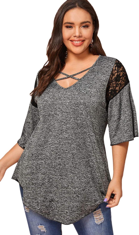 Floerns Women's Plus Size Criss Cross Asymmetrical Hem Casual Tee Shirt Top