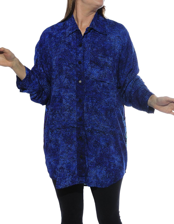 WeBeBop Womens Prism bluee Combo Long Sleeve Big Shirt 0 X 1X 2 X 3X 4 X 5X 6X