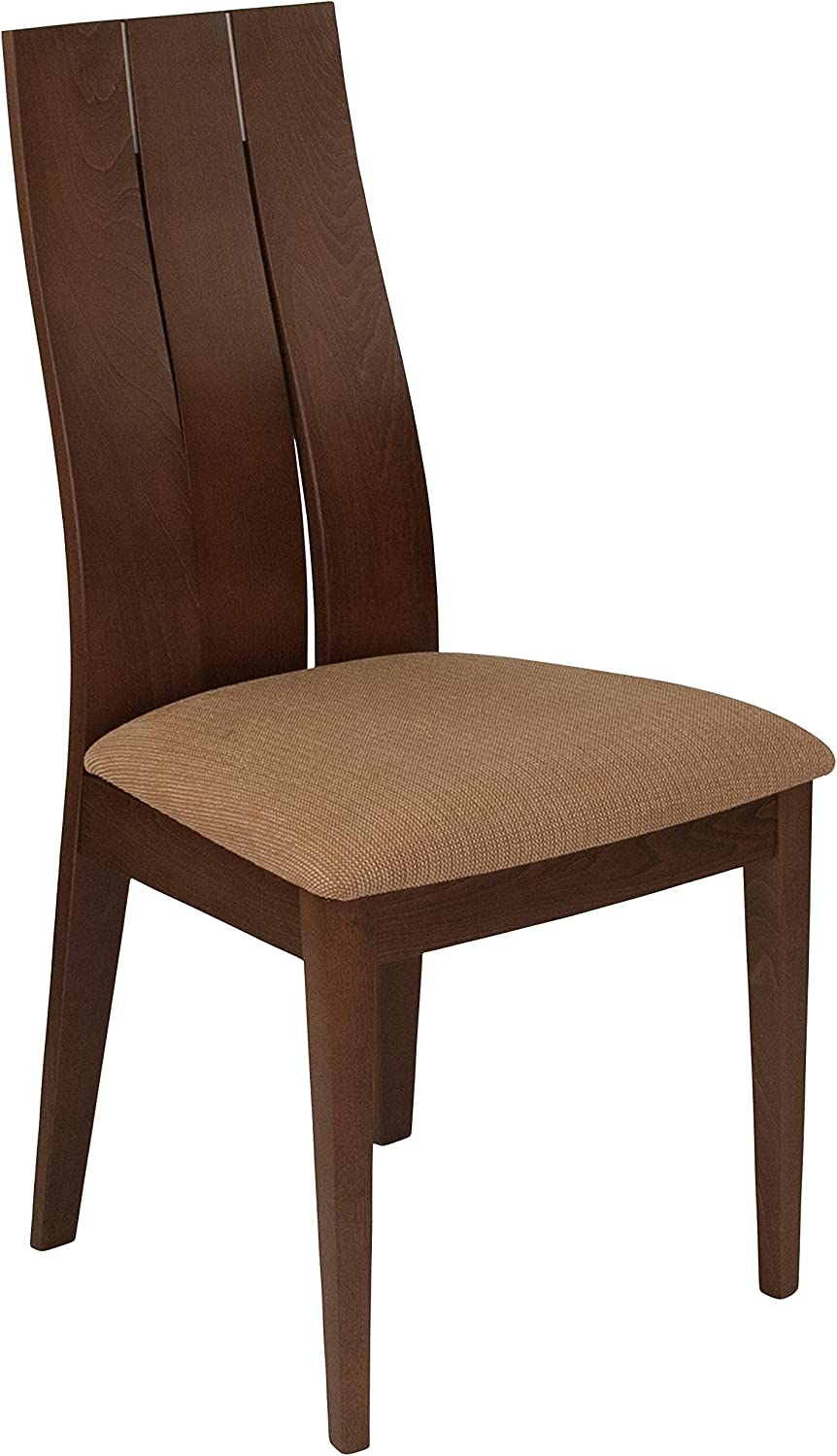 Flash Furniture Hadley Walnut Finish Wood Dining Chair with Wide Slat Back & Brown Fabric Seat