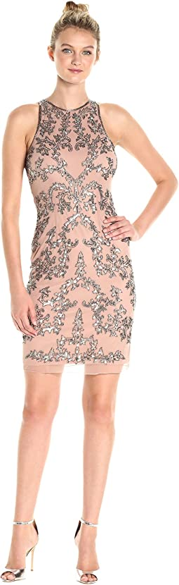 Short Halter Fully Beaded Dress