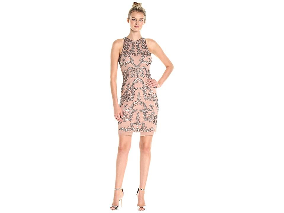 Adrianna Papell Short Halter Fully Beaded Dress (Rose Gold) Women