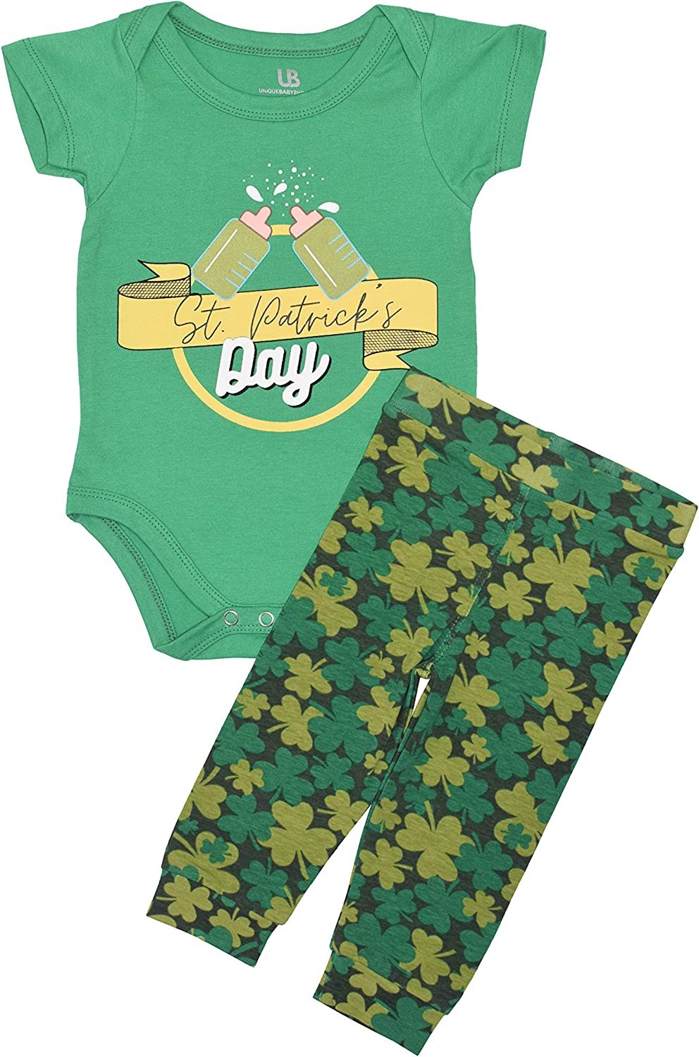 Unique Baby Unisex Cheers Bottles St Patrick's Day Onesie Outfit