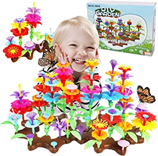 SAND MINE Flower Garden Building Toys, 198 PCS Kids Flower Garden Building Set, Pretend Gardening Playset Gifts for Girls ...