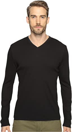 Calvin Klein Long Sleeve Rib V-Neck T-Shirt