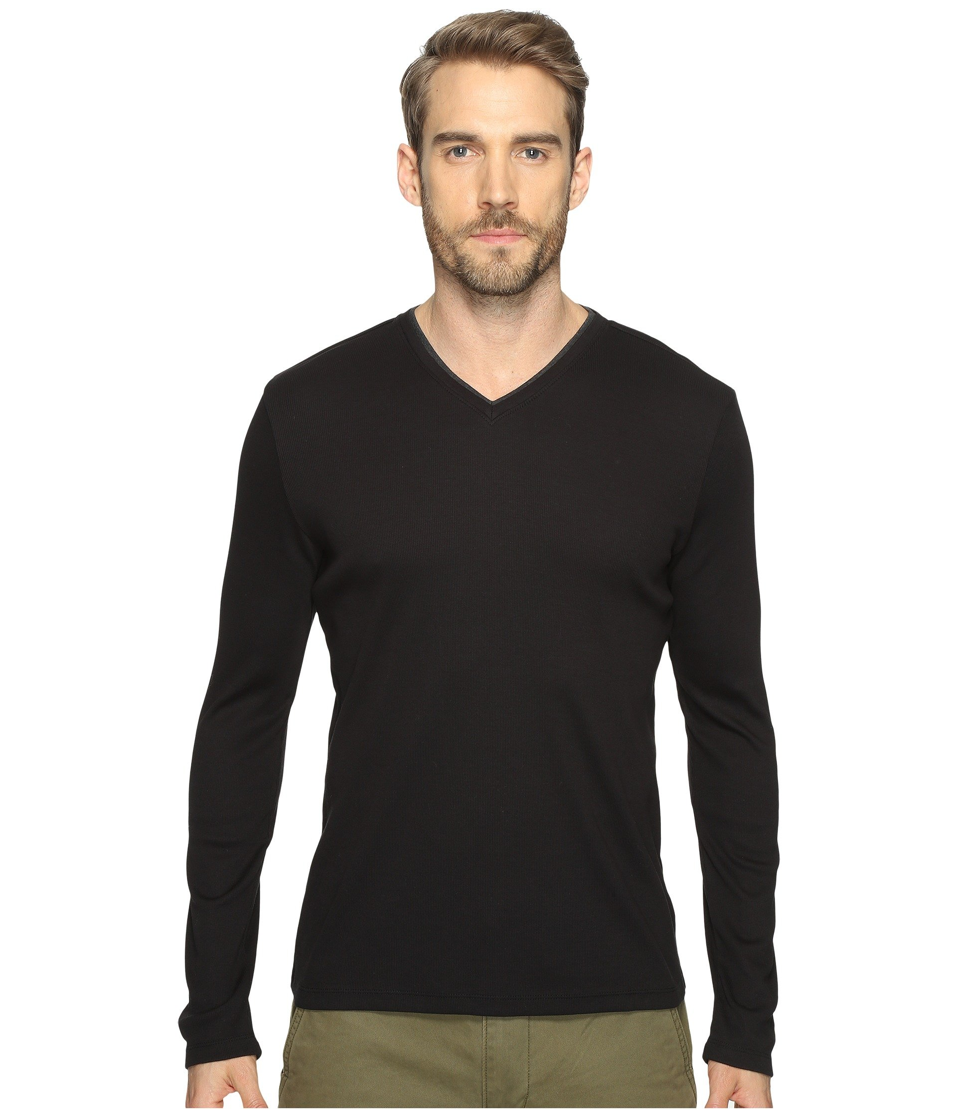 Calvin Sleeve neck shirt T Klein V Black Long Rib 1r1Fqv