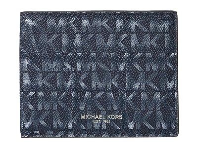 Michael Kors Greyson Logo Slim Billfold Wallet (MK Signature Blue) Wallet