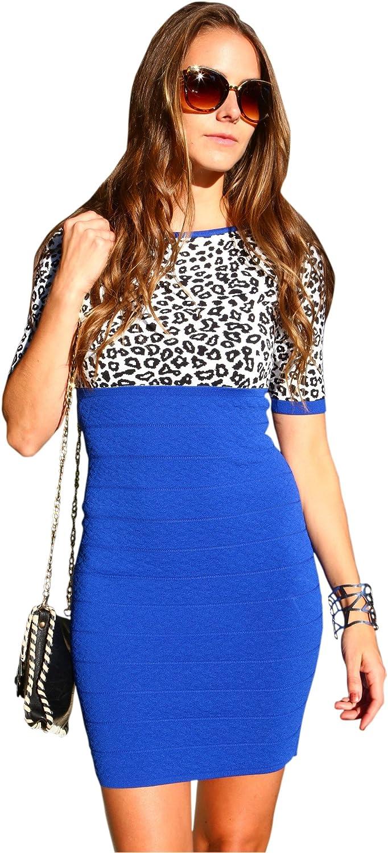 bluee Cheetah Print Dress by Anze   FigureFlattering Short Dress   Women's Fashionwear  Medium