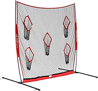 PowerNet Football QB Pass Accuracy Trainer | 8' x 8' Portable Passing Net w/ 5 Target Pockets | Ultra-Portable Quick Setup | Solo or Team Training Equipment | Also a Kicking Net Warm up or Practice