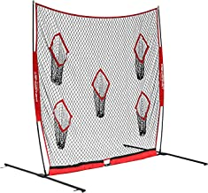 PowerNet Football QB Pass Accuracy Trainer   8' x 8' Portable Passing Net w/ 5 Target Pockets   Ultra-Portable Quick Setup   Solo or Team Training Equipment   Also a Kicking Net Warm up or Practice