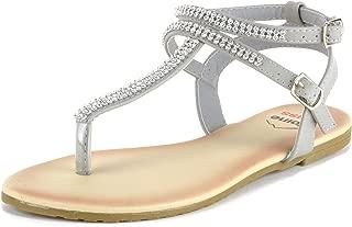 Womens Slingback T-Strap Rhinestone Ankle Strap Thong Sandals
