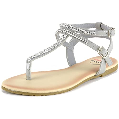 ef82d7c1d069b alpine swiss Womens Slingback T-Strap Rhinestone Ankle Strap Thong Sandals
