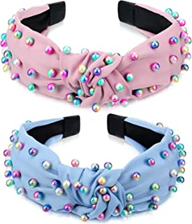 2 Pieces Faux Pearl Headband Colorful Artificial Pearl Headband Cross Knot Hairband Twisted Headband Turban Headband for Women Girls