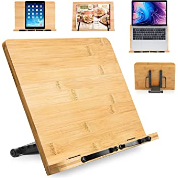 Bamboo Book Stand Holder for Reading Hands Free, Large Cookbook Stands with 6 Adjustable Height for Recipe, Textbook, Magazine, Musicbooks