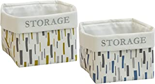 T&T Homewares, Square Fabric Storage Bins Set [2 Pack] ,Storage Baskets,Canvas Fabric Storage Boxes, Foldable/Collapsible ...