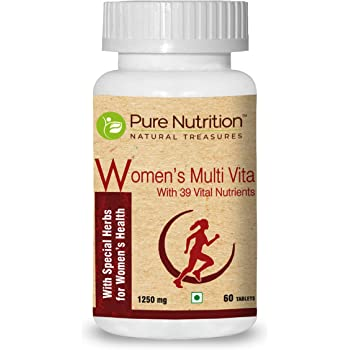 Pure Nutrition Women's Multi Vita, Fortified with 39 Bioactive Vital Nutrients with Ginseng Extracts, Omega 3 and Multiminerals, 60 Tablets