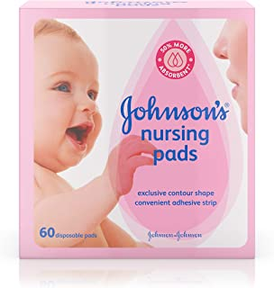 Johnson's Disposable Nursing Pads with Natural Cotton, Super Absorbent, Comfortable, and Breathable, Natural Contour Shape, 60 ct (Pack of 3)