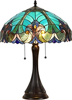 """Chloe Lighting CH16780VG16-TL2 Amor Tiffany-Style Victorian 2 Light Table Lamp with Shade, 21.5 x 16 x 16"""", Multicolor"""