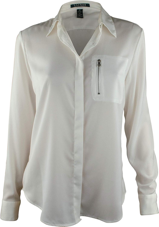Ralph Lauren Women's ZipPocket Satin Blouse Shirt TopsPL