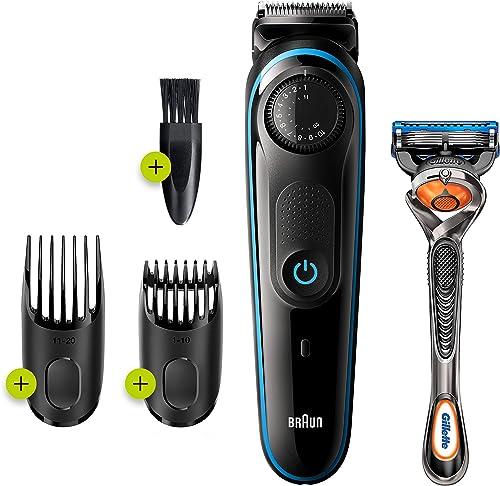 Braun Beard Trimmer BT3240, Beard Trimmer and Hair Clipper, 39 Length Settings, Black/Blue