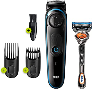 Braun Beard Trimmer BT3240, Beard Trimmer and Hair Clipper, 39 Length Settings, Black/Blue