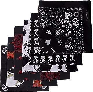 6-Pack of Assorted 100% Cotton Bandana Handkerchief Head Wraps Doo Rag