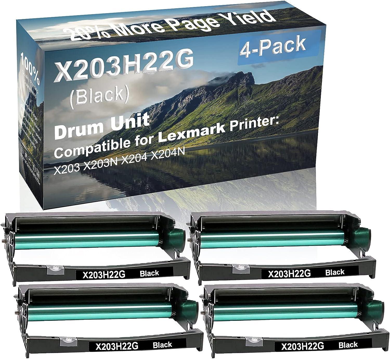 4-Pack Compatible Drum Unit (Black) Replacement for Lexmark X203H22G Drum Kit use for Lexmark X203 X203N X204 X204N Printer
