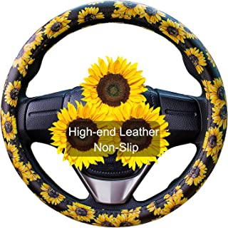 Evankin Sunflower Steering Wheel Cover Cute and Handmade,Leather Universal Steering Wheel Cover 15 inch, Fashionable Boho Sunflower Car Accessories for Women,Top Girl Car Accessories