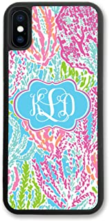 iPhone XR, Simply Customized Phone Case Compatible with iPhone XR [6.1 inch] Floral Coral Monogrammed Personalized IPXR