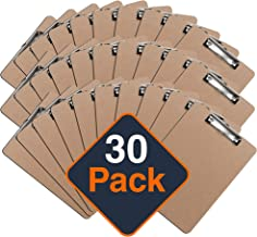 Clipboards (Set of 30) by Office Solutions Direct! ECO Friendly Hardboard Clipboard Pack, Low Profile Clip Standard A4 Let...